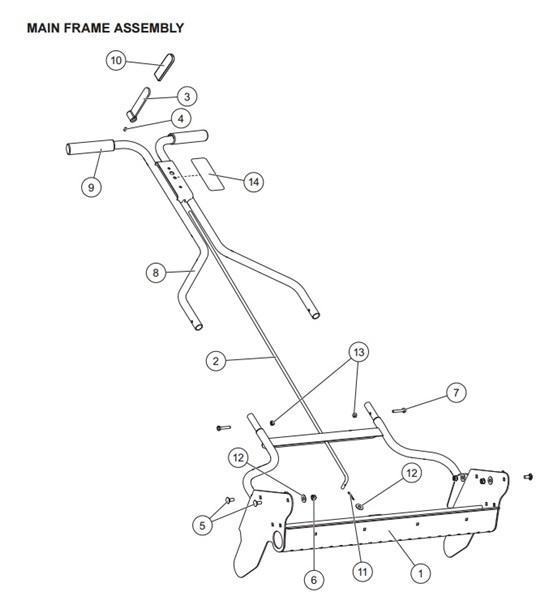 WESTERN_Walk-Behind_DROP_Spreader_WB-160D__85201_Main_Frame_Assembly